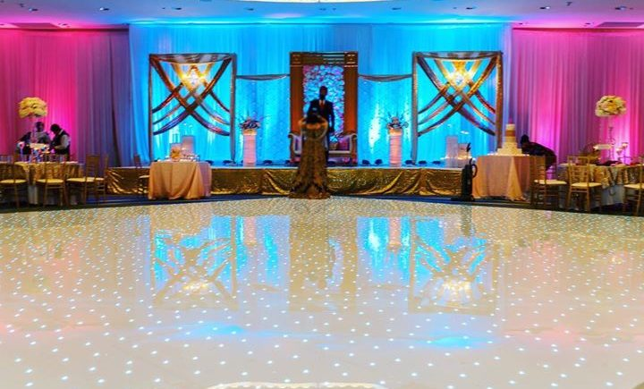 DCViBEZ Reception stage lighting. #dcvibez #djjatin #leduplighting #dcvreception #dcvibezdjs #leddancefloor #arlingtonrenaissancecapitolview