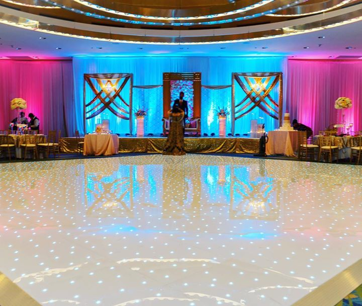 DCViBEZ Reception stage lighting. #dcvibez #djjatin #leduplighting #dcvreception #dcvibezdjs #leddancefloor #arlingtonrenaissancecapitolview
